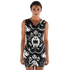 Wrapping Paper Nightmare Monster Sinister Helloween Ghost Wrap Front Bodycon Dress