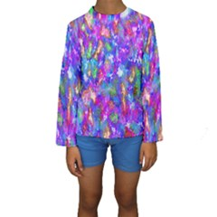 Abstract Trippy Bright Sky Space Kids  Long Sleeve Swimwear by Simbadda