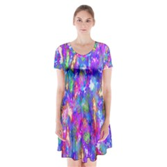 Abstract Trippy Bright Sky Space Short Sleeve V Neck Flare Dress