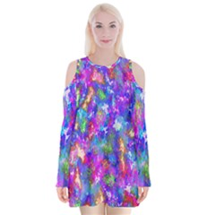 Abstract Trippy Bright Sky Space Velvet Long Sleeve Shoulder Cutout Dress by Simbadda