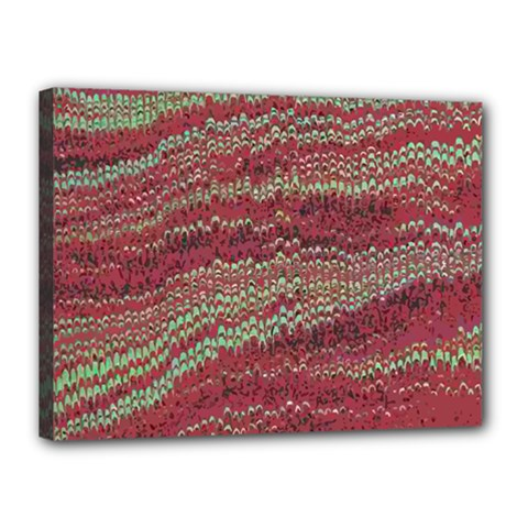 Scaly Pattern Colour Green Pink Canvas 16  X 12