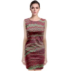Scaly Pattern Colour Green Pink Classic Sleeveless Midi Dress