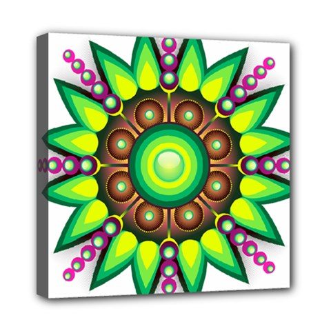 Design Elements Star Flower Floral Circle Mini Canvas 8  X 8  by Alisyart