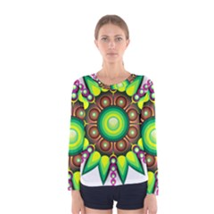 Design Elements Star Flower Floral Circle Women s Long Sleeve Tee
