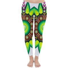 Design Elements Star Flower Floral Circle Classic Winter Leggings
