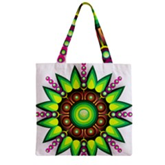 Design Elements Star Flower Floral Circle Zipper Grocery Tote Bag