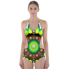 Design Elements Star Flower Floral Circle Cut Out One Piece Swimsuit