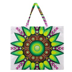 Design Elements Star Flower Floral Circle Zipper Large Tote Bag