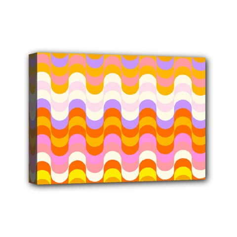 Dna Early Childhood Wave Chevron Rainbow Color Mini Canvas 7  X 5  by Alisyart