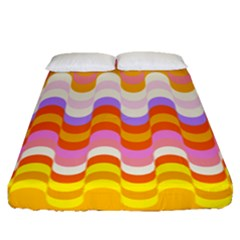 Dna Early Childhood Wave Chevron Rainbow Color Fitted Sheet (queen Size)