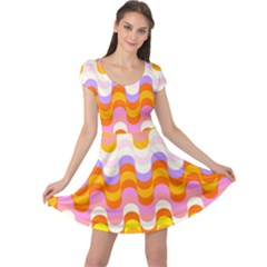 Dna Early Childhood Wave Chevron Rainbow Color Cap Sleeve Dresses by Alisyart