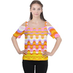 Dna Early Childhood Wave Chevron Rainbow Color Women s Cutout Shoulder Tee