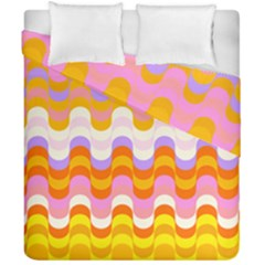 Dna Early Childhood Wave Chevron Rainbow Color Duvet Cover Double Side (california King Size)
