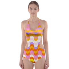 Dna Early Childhood Wave Chevron Rainbow Color Cut Out One Piece Swimsuit