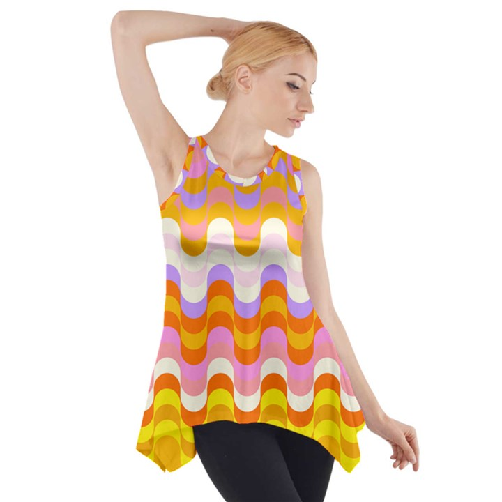 Dna Early Childhood Wave Chevron Rainbow Color Side Drop Tank Tunic