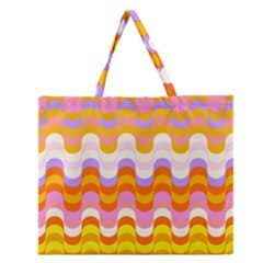 Dna Early Childhood Wave Chevron Rainbow Color Zipper Large Tote Bag by Alisyart