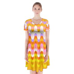Dna Early Childhood Wave Chevron Rainbow Color Short Sleeve V Neck Flare Dress