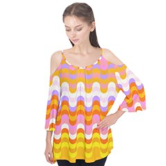 Dna Early Childhood Wave Chevron Rainbow Color Flutter Tees by Alisyart
