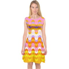 Dna Early Childhood Wave Chevron Rainbow Color Capsleeve Midi Dress by Alisyart