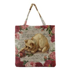 Vintage Kitten  Grocery Tote Bag by Valentinaart