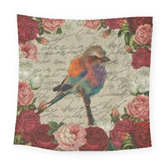 Vintage Bird Square Tapestry (large) by Valentinaart