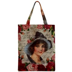 Vintage Girl Zipper Classic Tote Bag by Valentinaart