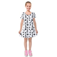 Seahorse Pattern Kids  Short Sleeve Velvet Dress