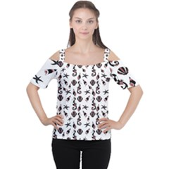 Seahorse Pattern Women s Cutout Shoulder Tee by Valentinaart
