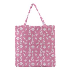 Seahorse Pattern Grocery Tote Bag by Valentinaart