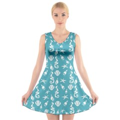 Seahorse Pattern V Neck Sleeveless Skater Dress by Valentinaart
