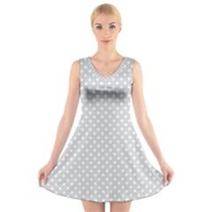 Polka Dots V Neck Sleeveless Skater Dress