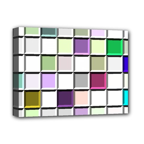 Color Tiles Abstract Mosaic Background Deluxe Canvas 16  X 12   by Simbadda