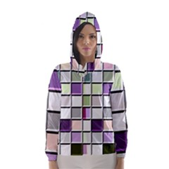 Color Tiles Abstract Mosaic Background Hooded Wind Breaker (women) by Simbadda
