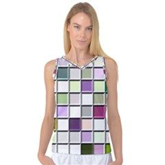 Color Tiles Abstract Mosaic Background Women s Basketball Tank Top by Simbadda