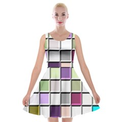 Color Tiles Abstract Mosaic Background Velvet Skater Dress by Simbadda
