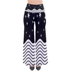 Black And White Waves And Stars Abstract Backdrop Clipart Pants by Simbadda
