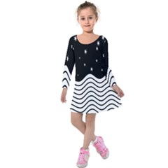 Black And White Waves And Stars Abstract Backdrop Clipart Kids  Long Sleeve Velvet Dress