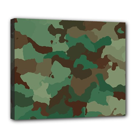 Camouflage Pattern A Completely Seamless Tile Able Background Design Deluxe Canvas 24  X 20   by Simbadda
