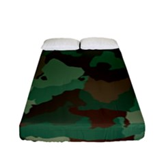 Camouflage Pattern A Completely Seamless Tile Able Background Design Fitted Sheet (full/ Double Size) by Simbadda