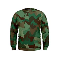 Camouflage Pattern A Completely Seamless Tile Able Background Design Kids  Sweatshirt by Simbadda