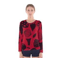 Congregation Of Floral Shades Pattern Women s Long Sleeve Tee by Simbadda
