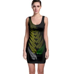 Drawing Of A Fractal Fern On Black Sleeveless Bodycon Dress