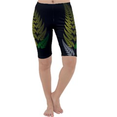 Drawing Of A Fractal Fern On Black Cropped Leggings  by Simbadda