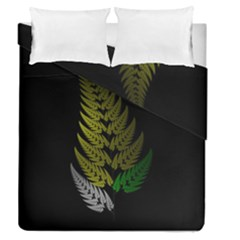 Drawing Of A Fractal Fern On Black Duvet Cover Double Side (queen Size)