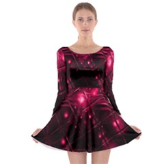Picture Of Love In Magenta Declaration Of Love Long Sleeve Skater Dress by Simbadda
