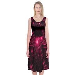 Picture Of Love In Magenta Declaration Of Love Midi Sleeveless Dress by Simbadda