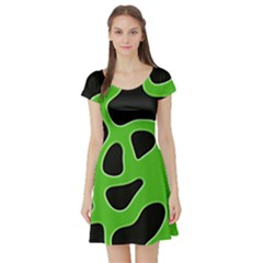 Black Green Abstract Shapes A Completely Seamless Tile Able Background Short Sleeve Skater Dress by Simbadda