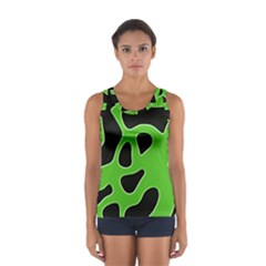 Black Green Abstract Shapes A Completely Seamless Tile Able Background Women s Sport Tank Top  by Simbadda