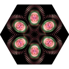 Fractal Plate Like Image In Pink Green And Other Colours Mini Folding Umbrellas by Simbadda
