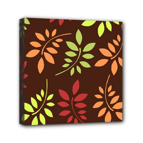 Leaves Wallpaper Pattern Seamless Autumn Colors Leaf Background Mini Canvas 6  X 6  by Simbadda